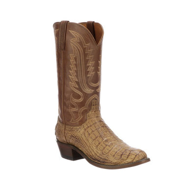 Men's Lucchese Walter Hornback Caiman Boots Handcrafted Tan - yeehawcowboy
