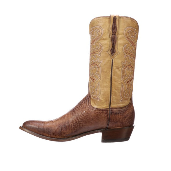 Men's Lucchese Nathan Smooth Ostrich Boots Handcrafted Barnwood - yeehawcowboy
