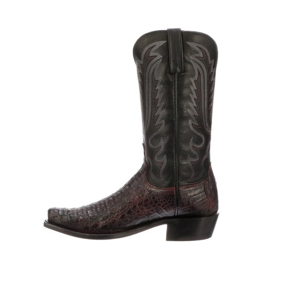 Men's Lucchese Walter Hornback Caiman Boots Handcrafted Black Cherry - yeehawcowboy