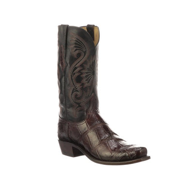 Men's Lucchese Rio Gaint Gator Boots Handcrafted Black Cherry - yeehawcowboy