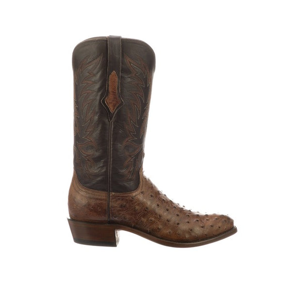 Men's Lucchese Elgin Full Quill Ostrich Boots Handcrafted Chocolate - yeehawcowboy