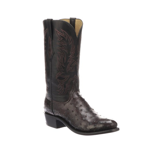 Men's Lucchese Elgin Full Quill Ostrich Boots Handcrafted Black Cherry - yeehawcowboy