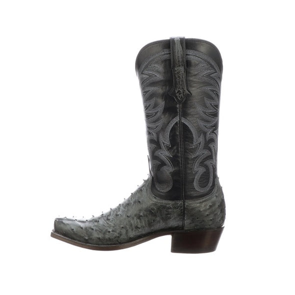 Men's Lucchese Hugo Full Quill Ostrich Boots Handcrafted Anthracite Grey - yeehawcowboy