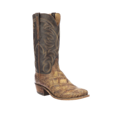 Men's Lucchese Rodney Gaint Gator Boots Handcrafted Cognac - yeehawcowboy