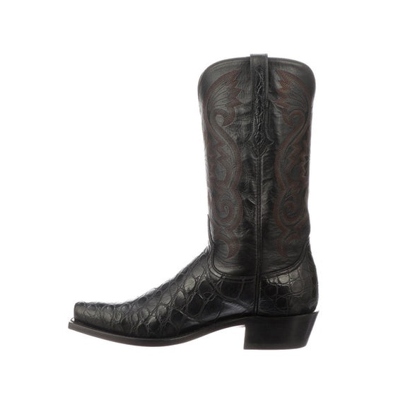 Men's Lucchese Rio Gaint Gator Boots Handcrafted Black - yeehawcowboy