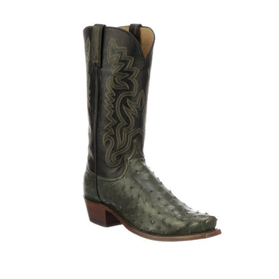 Men's Lucchese Dante Full Quill Ostrich Boots Handcrafted Forest Green - yeehawcowboy