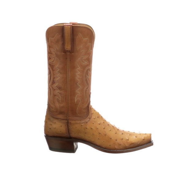 Men's Lucchese Dante Full Quill Ostrich Boots Handcrafted Butterscotch - yeehawcowboy