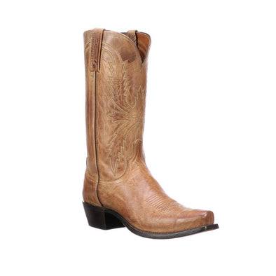 Men's Lucchese Crayton Mad Dog Goat Boots Handcrafted Tan - yeehawcowboy