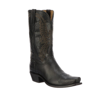 Men's Lucchese Crayton Mad Dog Goat Boots Handcrafted Black - yeehawcowboy