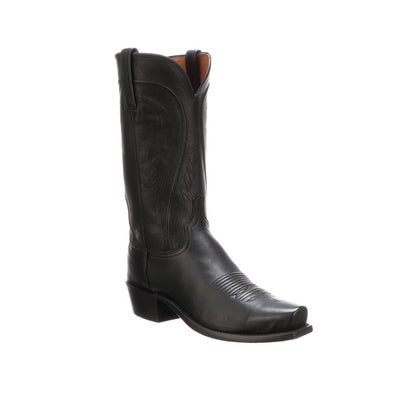 Men's Lucchese Bart Leather Boots Handcrafted Black - yeehawcowboy