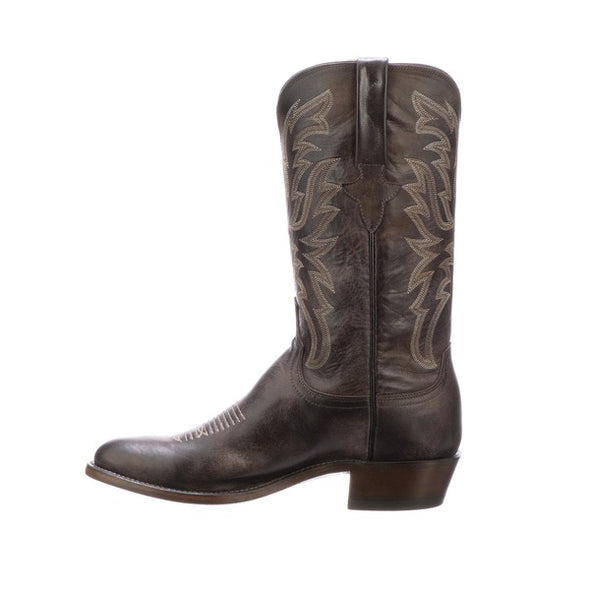 Men's Lucchese Milo Goat Boots Handcrafted Dark Brown - yeehawcowboy