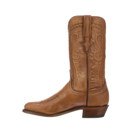 Men's Lucchese Brandon Leather Boots Handcrafted Whiskey - yeehawcowboy