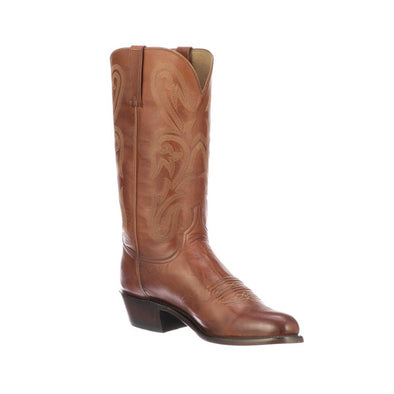 Men's Lucchese Blake Leather Boots Handcrafted Cognac - yeehawcowboy