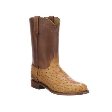 Men's Lucchese Zane Full Quill Ostrich Roper Boots Handcrafted Barnwood - yeehawcowboy