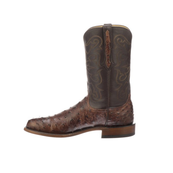 Men's Lucchese Hudson  Full Quill Ostrich Roper Boots Handcrafted Chocolate - yeehawcowboy