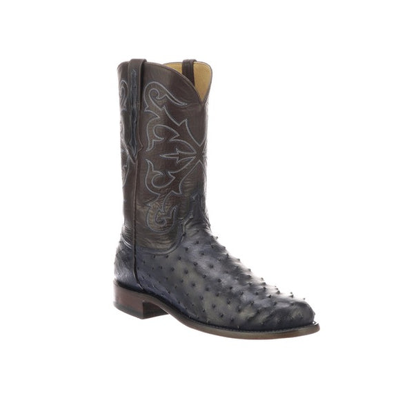 Men's Lucchese Hudson Full Quill Ostrich Roper Boots Handcrafted Navy Blue - yeehawcowboy