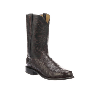 Men's Lucchese Hudson Full Quill Ostrich Roper Boots Handcrafted Black Cherry - yeehawcowboy