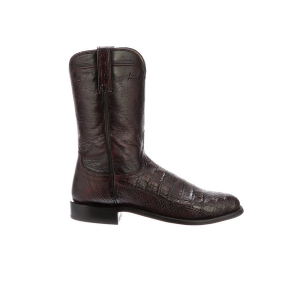 Men's Lucchese Gerard Caiman Belly Boots Handcrafted Black Cherry - yeehawcowboy