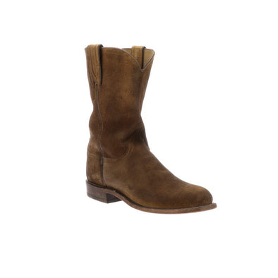 Men's Lucchese Lincoln Suede Roper Boots Handcrafted Cognac - yeehawcowboy