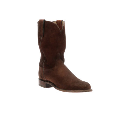 Men's Lucchese Lincoln Suede Roper Boots Handcrafted Rust - yeehawcowboy
