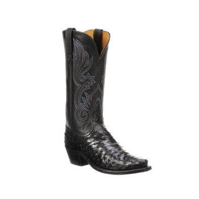 Women's Lucchese Dolly Full Quill Ostrich Boots Handcrafted Black - yeehawcowboy