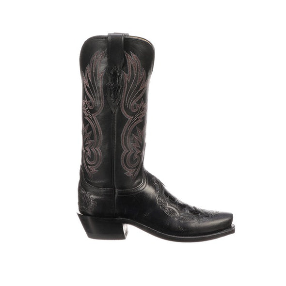 Women's Lucchese Beatrice Leather Boots Handcrafted Black - yeehawcowboy