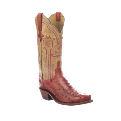 Women's Lucchese Maeve Full Quill Ostrich Boots Handcrafted Brick Red - yeehawcowboy