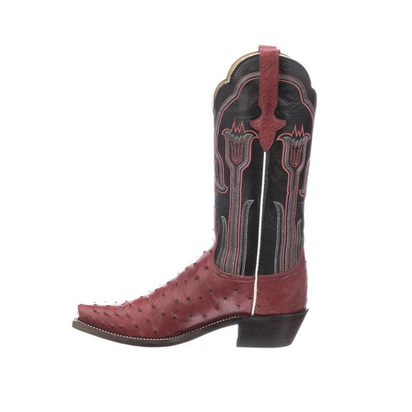 Women's Lucchese Maeve Full Quill Ostrich Boots Handcrafted Plum - yeehawcowboy