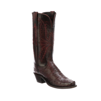 Women's Lucchese Josephine Full Quill Ostrich Boots Handcrafted Black Cherry - yeehawcowboy