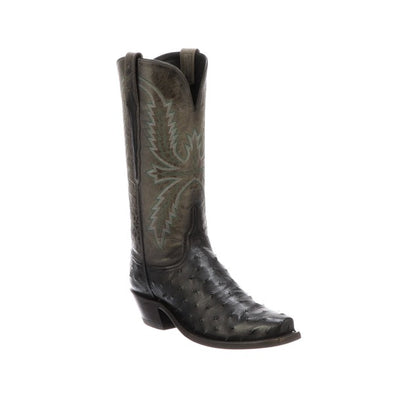 Women's Lucchese Josephine Full Quill Ostrich Boots Handcrafted Charcoal - yeehawcowboy