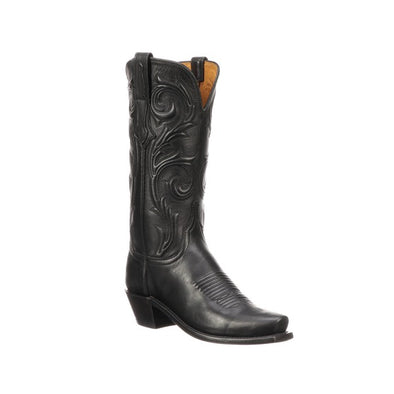 Women's Lucchese Nicole Leather Boots Handcrafted Black - yeehawcowboy