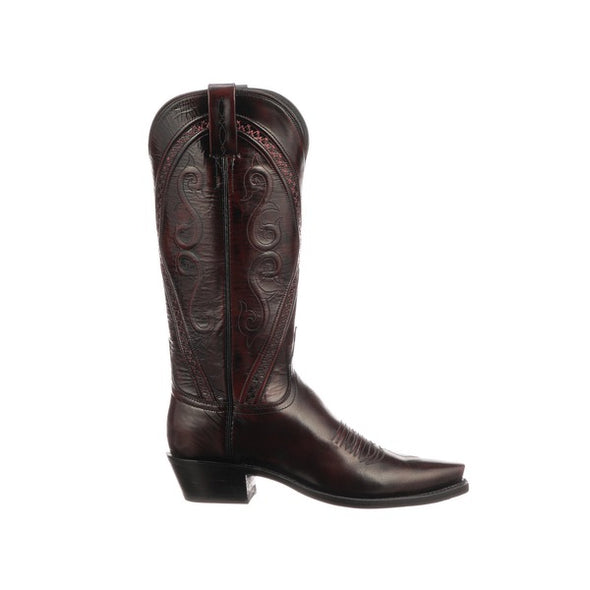 Women's Lucchese Darlene Goat Boots Handcrafted Black Cherry - yeehawcowboy