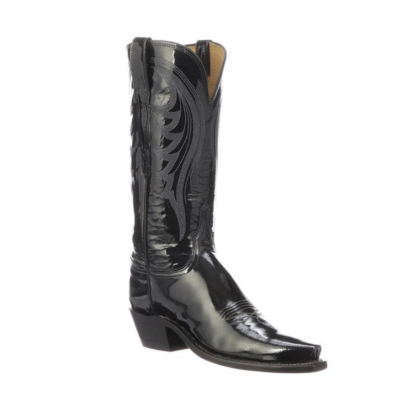 Women's Lucchese Dee Patent Leather Boots Handcrafted Black - yeehawcowboy