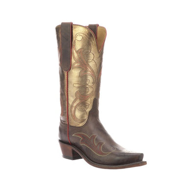 Women's Lucchese Tansy Goat Boots Handcrafted Chocolate - yeehawcowboy