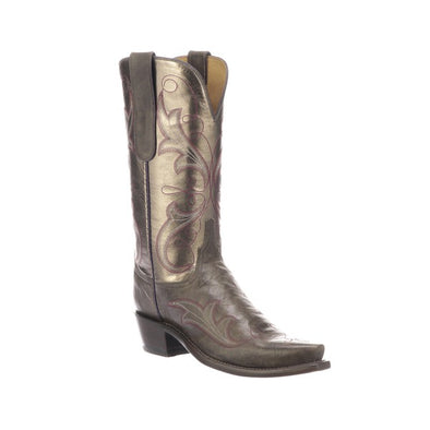 Women's Lucchese Tansy Goat Boots Handcrafted Anthracite Grey - yeehawcowboy
