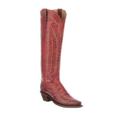 Women's Lucchese Priscilla Mad Dog Goat Boots Handcrafted Red - yeehawcowboy