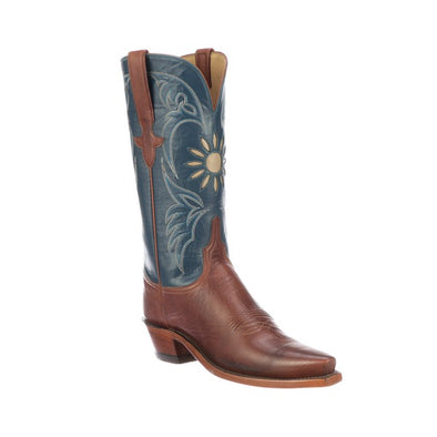Women's Lucchese Thea Goat Boots Handcrafted Brandy - yeehawcowboy