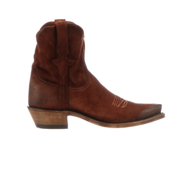 Women's Lucchese Elena Leather Ankle Boots Handcrafted Rust - yeehawcowboy