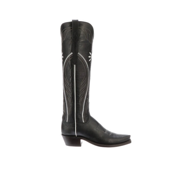 Women's Lucchese Thelma Goat Boots Handcrafted Black - yeehawcowboy