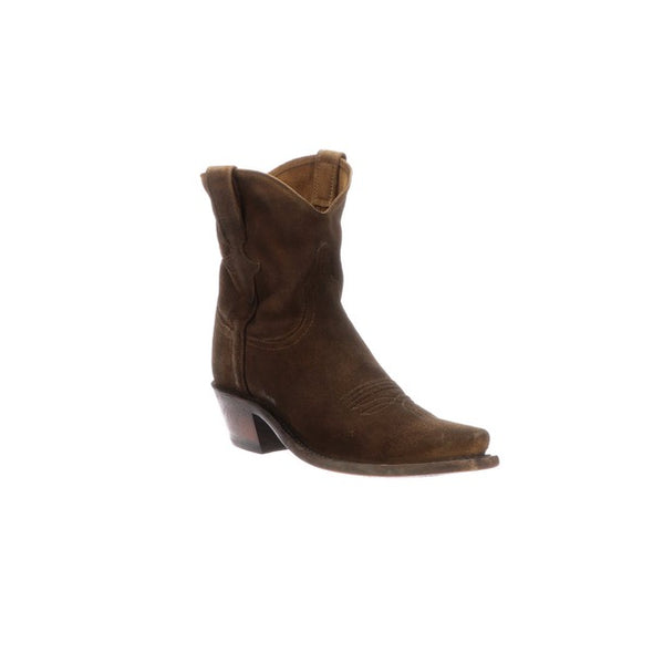 Women's Lucchese Elena Leather Ankle Boots Handcrafted Stonewashed Cognac - yeehawcowboy