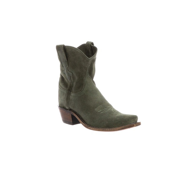 Women's Lucchese Elena Leather Ankle Boots Handcrafted Olive - yeehawcowboy