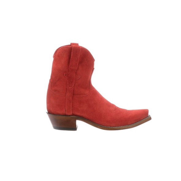 Women's Lucchese Elena Leather Ankle Boots Handcrafted Red - yeehawcowboy