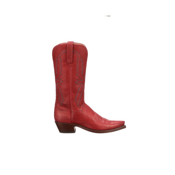 Women's Lucchese Savannah Leather Boots Handcrafted Red - yeehawcowboy