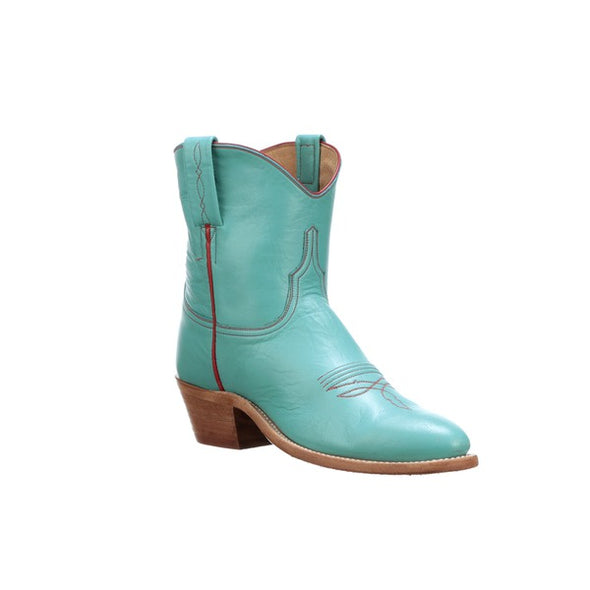 Women's Lucchese Gaby Goat Ankle Boots Handcrafted Turquoise - yeehawcowboy