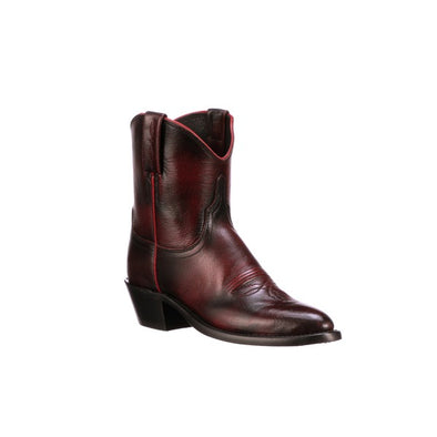 Women's Lucchese Gaby Buffalo Ankle Boots Handcrafted Blackcherry - yeehawcowboy