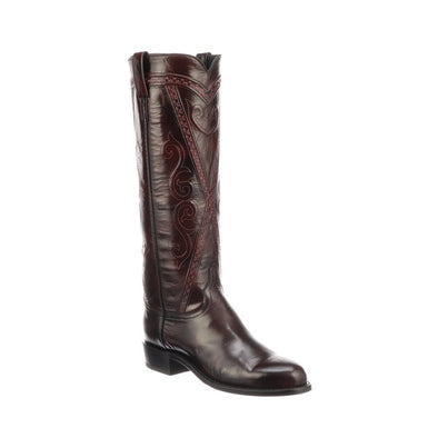 Women's Lucchese Dora Goat Boots Handcrafted Black Cherry - yeehawcowboy
