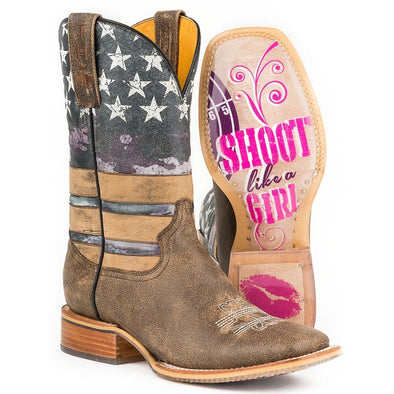 Women's Tin Haul American Woman Boots W Shoot Like A Girl Sole - yeehawcowboy