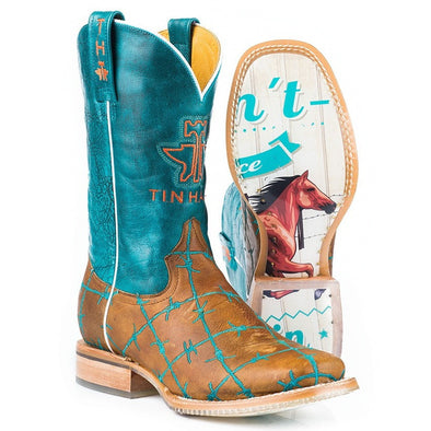 Women's Tin Haul Barbd Wire Boots With Wild & Free Sole Handmade - yeehawcowboy