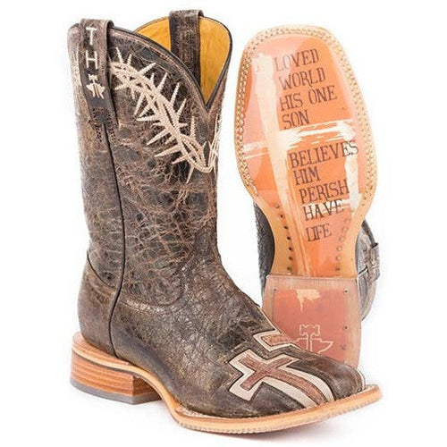 Women's Tin Haul My Savior Boots With Bible Verse Sole Handmade - yeehawcowboy