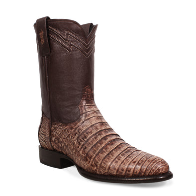 Men's Yeehaw Cowboy Caiman Belly Roper Boots Camel Handcrafted - yeehawcowboy